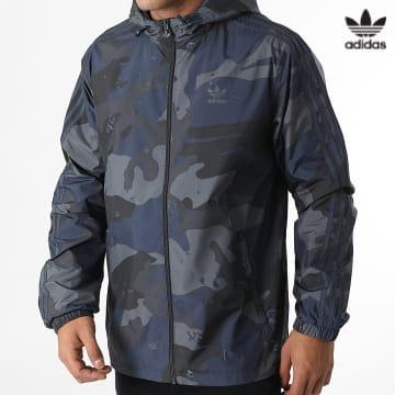 https://laboutiqueofficielle-res.cloudinary.com/image/upload/v1627646526/Desc/Watermark/3adidas_orginal.svg Adidas Originals - Coupe-Vent Capuche A Bandes Camo H13460 Gris Bleu Marine Camouflage
