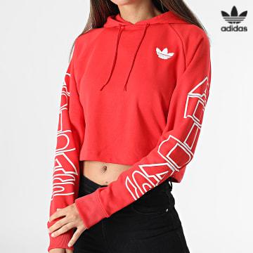 https://laboutiqueofficielle-res.cloudinary.com/image/upload/v1627646526/Desc/Watermark/3adidas_orginal.svg Adidas Originals - Sweat Capuche Crop Femme H20233 Rouge