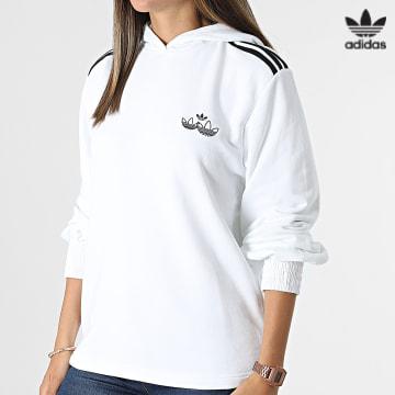 https://laboutiqueofficielle-res.cloudinary.com/image/upload/v1627646526/Desc/Watermark/3adidas_orginal.svg Adidas Originals - Sweat Capuche Femme A Bandes H17952 Blanc