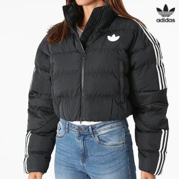 https://laboutiqueofficielle-res.cloudinary.com/image/upload/v1627646526/Desc/Watermark/3adidas_orginal.svg Adidas Originals - Doudoune Crop Femme A Bandes GU1770 Noir