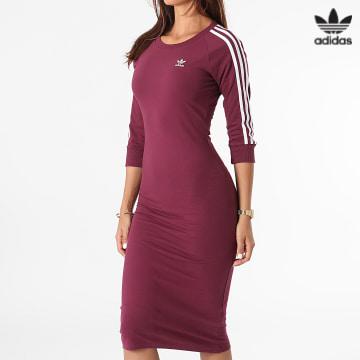 https://laboutiqueofficielle-res.cloudinary.com/image/upload/v1627646526/Desc/Watermark/3adidas_orginal.svg Adidas Originals - Robe Sweat Femme A Bandes H06777 Bordeaux