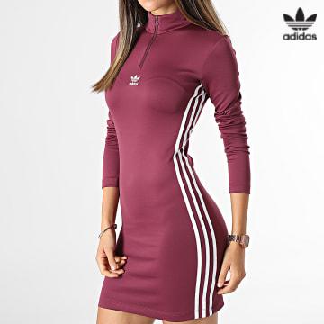 https://laboutiqueofficielle-res.cloudinary.com/image/upload/v1627646526/Desc/Watermark/3adidas_orginal.svg Adidas Originals - Robe Col Zippé Femme H35617 Bordeaux