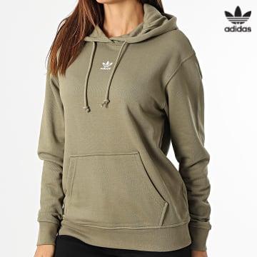 https://laboutiqueofficielle-res.cloudinary.com/image/upload/v1627646526/Desc/Watermark/3adidas_orginal.svg Adidas Originals - Sweat Capuche Femme H06621 Vert Kaki