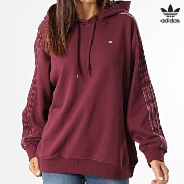 https://laboutiqueofficielle-res.cloudinary.com/image/upload/v1627646526/Desc/Watermark/3adidas_orginal.svg Adidas Originals - Sweat Capuche Femme A Bandes H18041 Bordeaux
