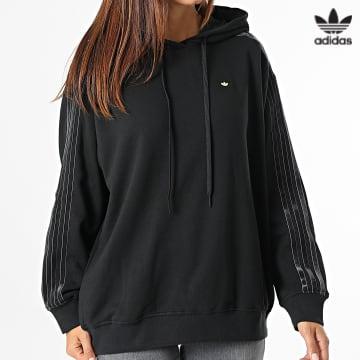 https://laboutiqueofficielle-res.cloudinary.com/image/upload/v1627646526/Desc/Watermark/3adidas_orginal.svg Adidas Originals - Sweat Capuche Femme A Bandes H18039 Noir