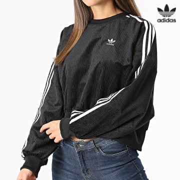 https://laboutiqueofficielle-res.cloudinary.com/image/upload/v1627646526/Desc/Watermark/3adidas_orginal.svg Adidas Originals - Sweat Crewneck Femme Crop H37848 Noir