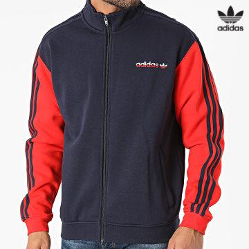 https://laboutiqueofficielle-res.cloudinary.com/image/upload/v1627646526/Desc/Watermark/3adidas_orginal.svg Adidas Originals - Veste Zippée A Bandes H31266 Bleu Marine Rouge