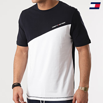 https://laboutiqueofficielle-res.cloudinary.com/image/upload/v1627646949/Desc/Watermark/10logo_tommy_sport.svg Tommy Sport - Tee Shirt Blocked 7281 Bleu Marine Blanc