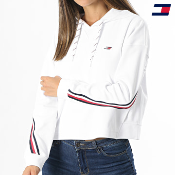https://laboutiqueofficielle-res.cloudinary.com/image/upload/v1627646949/Desc/Watermark/10logo_tommy_sport.svg Tommy Sport - Sweat Capuche Femme A Bandes Relaxed Double Pique 1030 Blanc