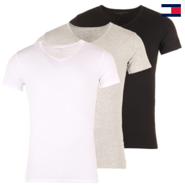 https://laboutiqueofficielle-res.cloudinary.com/image/upload/v1627647047/Desc/Watermark/7logo_tommy_hilfiger.svg Tommy Hilfiger - Lot De 3 Tee Shirts V-Neck Premium Essentials Blanc Noir Gris