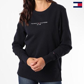 https://laboutiqueofficielle-res.cloudinary.com/image/upload/v1627647047/Desc/Watermark/7logo_tommy_hilfiger.svg Tommy Hilfiger - Sweat Crewneck Femme Essential 8220 Bleu Marine
