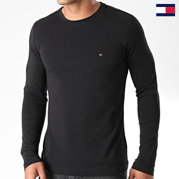 https://laboutiqueofficielle-res.cloudinary.com/image/upload/v1627647047/Desc/Watermark/7logo_tommy_hilfiger.svg Tommy Hilfiger - Tee Shirt Manches Longues Stretch Fit Slim 0804 Noir