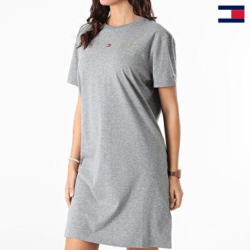 https://laboutiqueofficielle-res.cloudinary.com/image/upload/v1627647047/Desc/Watermark/7logo_tommy_hilfiger.svg Tommy Hilfiger - Robe Tee Shirt Femme 2578 Gris Chiné Doré