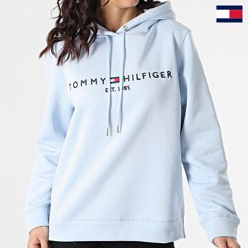 https://laboutiqueofficielle-res.cloudinary.com/image/upload/v1627647047/Desc/Watermark/7logo_tommy_hilfiger.svg Tommy Hilfiger - Sweat Capuche Femme Essential 6410 Bleu Ciel