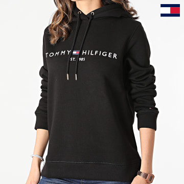 https://laboutiqueofficielle-res.cloudinary.com/image/upload/v1627647047/Desc/Watermark/7logo_tommy_hilfiger.svg Tommy Hilfiger - Sweat Capuche Femme Heritage 1998 Noir