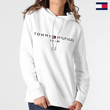 https://laboutiqueofficielle-res.cloudinary.com/image/upload/v1627647047/Desc/Watermark/7logo_tommy_hilfiger.svg Tommy Hilfiger - Sweat Capuche Femme Heritage 1998 Blanc