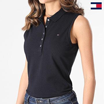 https://laboutiqueofficielle-res.cloudinary.com/image/upload/v1627647047/Desc/Watermark/7logo_tommy_hilfiger.svg Tommy Hilfiger - Polo Slim Femme Sans Manches 8007 Bleu Marine