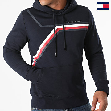 https://laboutiqueofficielle-res.cloudinary.com/image/upload/v1627647047/Desc/Watermark/7logo_tommy_hilfiger.svg Tommy Hilfiger - Sweat Capuche Split Corp Stripe 1115 Bleu Marine