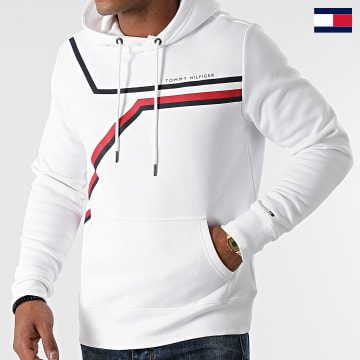 https://laboutiqueofficielle-res.cloudinary.com/image/upload/v1627647047/Desc/Watermark/7logo_tommy_hilfiger.svg Tommy Hilfiger - Sweat Capuche Split Corp Stripe 1115 Blanc