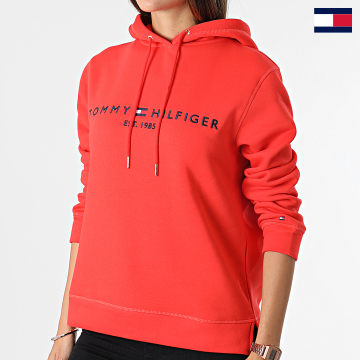 https://laboutiqueofficielle-res.cloudinary.com/image/upload/v1627647047/Desc/Watermark/7logo_tommy_hilfiger.svg Tommy Hilfiger - Sweat Capuche Femme Regular 6410 Corail
