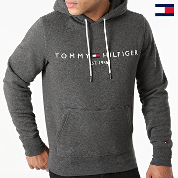 https://laboutiqueofficielle-res.cloudinary.com/image/upload/v1627647047/Desc/Watermark/7logo_tommy_hilfiger.svg Tommy Hilfiger - Sweat Capuche Logo 1599 Gris Anthracite Chiné