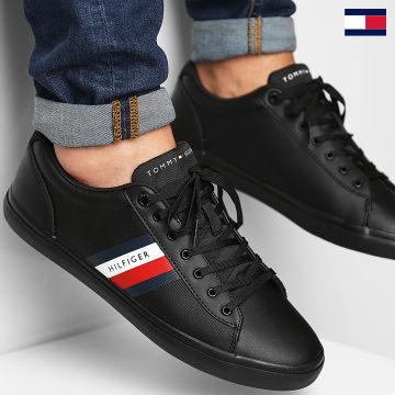 https://laboutiqueofficielle-res.cloudinary.com/image/upload/v1627647047/Desc/Watermark/7logo_tommy_hilfiger.svg Tommy Hilfiger - Baskets Essential Leather Vulcanized Stripes 3722 Black
