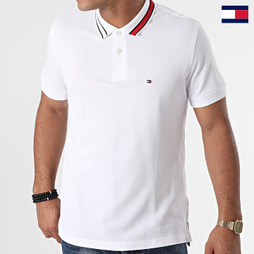 https://laboutiqueofficielle-res.cloudinary.com/image/upload/v1627647047/Desc/Watermark/7logo_tommy_hilfiger.svg Tommy Hilfiger - Polo Manches Courtes Sophisticated Tipping 0201 Blanc