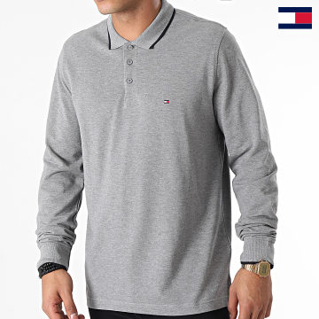 https://laboutiqueofficielle-res.cloudinary.com/image/upload/v1627647047/Desc/Watermark/7logo_tommy_hilfiger.svg Tommy Hilfiger - Polo Manches Longues Basic Tipped 0957 Gris Chiné