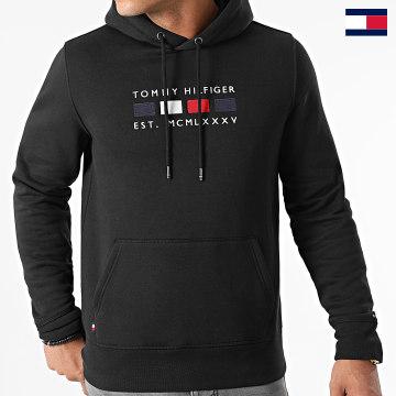https://laboutiqueofficielle-res.cloudinary.com/image/upload/v1627647047/Desc/Watermark/7logo_tommy_hilfiger.svg Tommy Hilfiger - Sweat Capuche Four Flag 0132 Noir