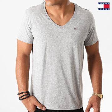 https://laboutiqueofficielle-res.cloudinary.com/image/upload/v1627651009/Desc/Watermark/3logo_tommy_jeans.svg Tommy Jeans - Tee Shirt Col V Original 4410 Gris Chiné
