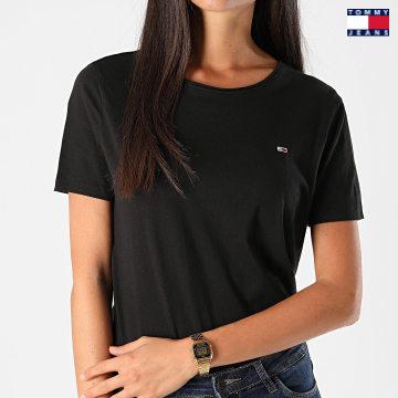 https://laboutiqueofficielle-res.cloudinary.com/image/upload/v1627651009/Desc/Watermark/3logo_tommy_jeans.svg Tommy Jeans - Tee Shirt Slim Femme Jersey 9194 Noir