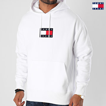 https://laboutiqueofficielle-res.cloudinary.com/image/upload/v1627651009/Desc/Watermark/3logo_tommy_jeans.svg Tommy Jeans - Sweat Capuche Small Flag 8726 Blanc