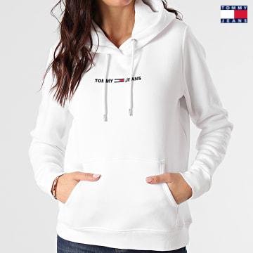 https://laboutiqueofficielle-res.cloudinary.com/image/upload/v1627651009/Desc/Watermark/3logo_tommy_jeans.svg Tommy Jeans - Sweat Capuche Femme Linear Logo 0132 Blanc