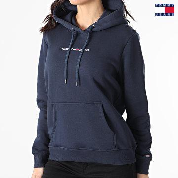 https://laboutiqueofficielle-res.cloudinary.com/image/upload/v1627651009/Desc/Watermark/3logo_tommy_jeans.svg Tommy Jeans - Sweat Capuche Femme Linear Logo 0132 Bleu Marine