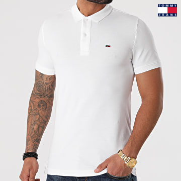 https://laboutiqueofficielle-res.cloudinary.com/image/upload/v1627651009/Desc/Watermark/3logo_tommy_jeans.svg Tommy Jeans - Polo Manches Courtes Classic Solid 9439 Blanc
