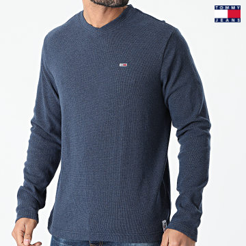 https://laboutiqueofficielle-res.cloudinary.com/image/upload/v1627651009/Desc/Watermark/3logo_tommy_jeans.svg Tommy Jeans - Tee Shirt Manches Longues Mini Waffle Jaspe 0287 Bleu Marine Chiné