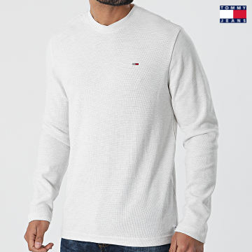 https://laboutiqueofficielle-res.cloudinary.com/image/upload/v1627651009/Desc/Watermark/3logo_tommy_jeans.svg Tommy Jeans - Tee Shirt Manches Longues Mini Waffle Jaspe 0287 Ecru Chiné