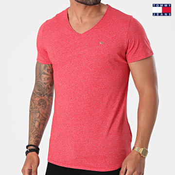https://laboutiqueofficielle-res.cloudinary.com/image/upload/v1627651009/Desc/Watermark/3logo_tommy_jeans.svg Tommy Jeans - Tee Shirt Oversize Col V Slim Jaspe 9587 Rouge Chiné