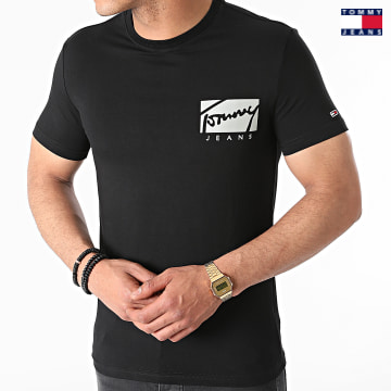 https://laboutiqueofficielle-res.cloudinary.com/image/upload/v1627651009/Desc/Watermark/3logo_tommy_jeans.svg Tommy Jeans - Tee Shirt Script Box Logo 0215 Noir