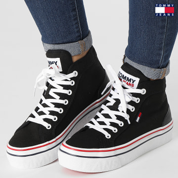 https://laboutiqueofficielle-res.cloudinary.com/image/upload/v1627651009/Desc/Watermark/3logo_tommy_jeans.svg Tommy Jeans - Baskets Femme Mid Platform Vulcanized 1414 Black