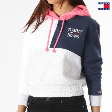 https://laboutiqueofficielle-res.cloudinary.com/image/upload/v1627651009/Desc/Watermark/3logo_tommy_jeans.svg Tommy Jeans - Sweat Capuche Femme Crop Colorblock Logo 0453 Blanc Bleu Marine Gris Chiné