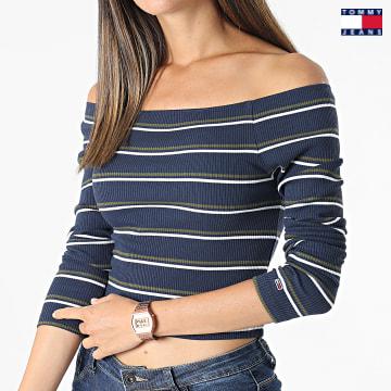 https://laboutiqueofficielle-res.cloudinary.com/image/upload/v1627651009/Desc/Watermark/3logo_tommy_jeans.svg Tommy Jeans - Top Crop Femme Stripe 10400 Bleu Marine