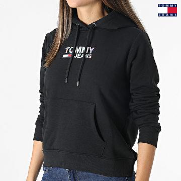 https://laboutiqueofficielle-res.cloudinary.com/image/upload/v1627651009/Desc/Watermark/3logo_tommy_jeans.svg Tommy Jeans - Sweat Capuche Femme Slim Metal Corp Logo 9247 Noir Irisé