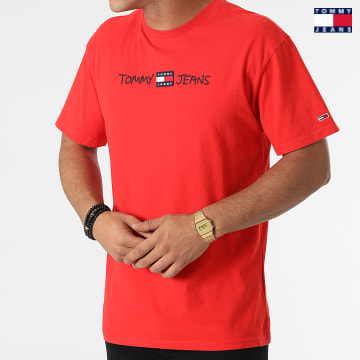 https://laboutiqueofficielle-res.cloudinary.com/image/upload/v1627651009/Desc/Watermark/3logo_tommy_jeans.svg Tommy Jeans - Tee Shirt Linear Written Logo 0942 Rouge