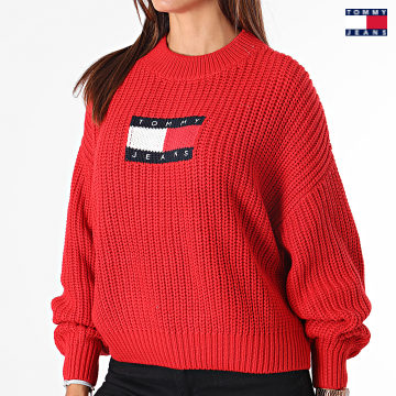 https://laboutiqueofficielle-res.cloudinary.com/image/upload/v1627651009/Desc/Watermark/3logo_tommy_jeans.svg Tommy Jeans - Pull Femme Center Flag 1001 Rouge