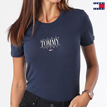 https://laboutiqueofficielle-res.cloudinary.com/image/upload/v1627651009/Desc/Watermark/3logo_tommy_jeans.svg Tommy Jeans - Tee Shirt Femme Skinny Essential Logo 1239 Bleu Marine