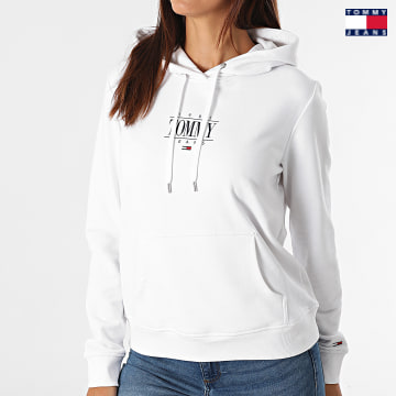 https://laboutiqueofficielle-res.cloudinary.com/image/upload/v1627651009/Desc/Watermark/3logo_tommy_jeans.svg Tommy Jeans - Sweat Capuche Femme Regular Essential Logo 1049 Blanc