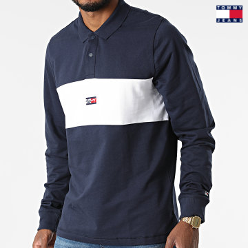https://laboutiqueofficielle-res.cloudinary.com/image/upload/v1627651009/Desc/Watermark/3logo_tommy_jeans.svg Tommy Jeans - Polo Manches Longues Tiny Tommy 1597 Bleu Marine Blanc