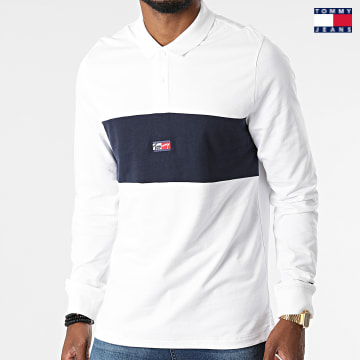 https://laboutiqueofficielle-res.cloudinary.com/image/upload/v1627651009/Desc/Watermark/3logo_tommy_jeans.svg Tommy Jeans - Polo Manches Longues Tiny Tommy 1597 Ecru Bleu Marine