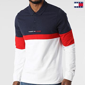https://laboutiqueofficielle-res.cloudinary.com/image/upload/v1627651009/Desc/Watermark/3logo_tommy_jeans.svg Tommy Jeans - Polo Manches Longues Regular Colorblock 0918 Bleu Marine Ecru Rouge